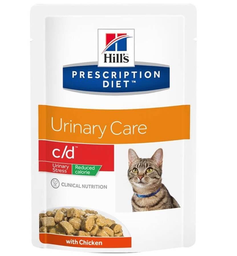 Hill's Prescription Diet Feline C/D Urinary Stress LIGHT Poulet SACHETS 12 x 85 grs- La Compagnie des Animaux