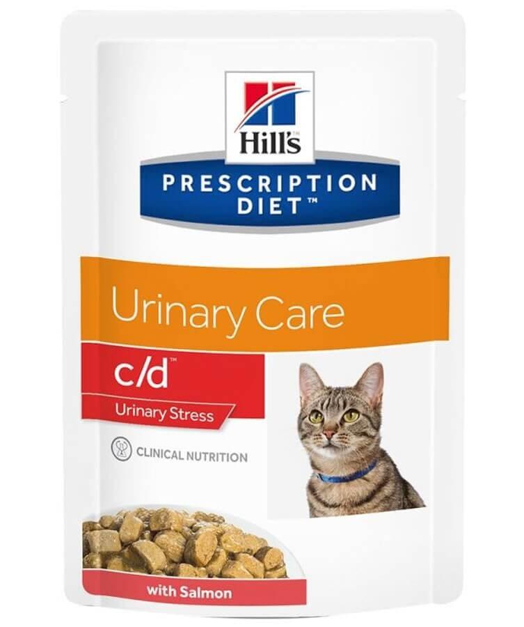 Hill's Prescription Diet Feline C/D Urinary Stress Saumon SACHETS 12 x 85 grs- La Compagnie des Animaux