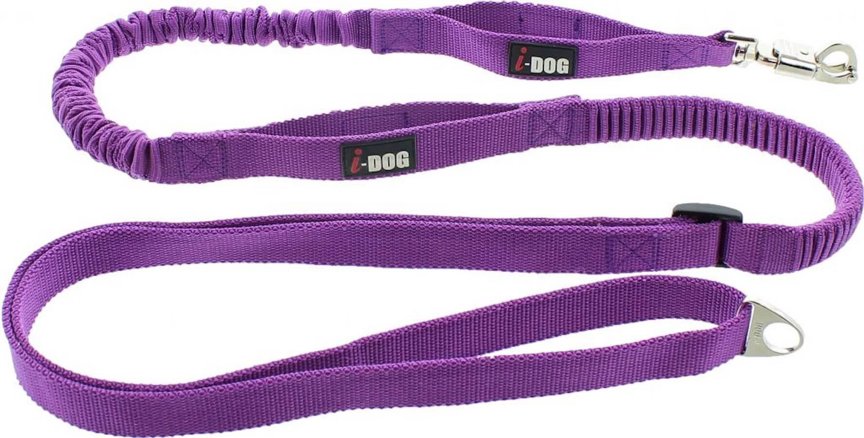 I-DOG Laisse de Traction Canicross Violet/Gris - La Compagnie des Animaux
