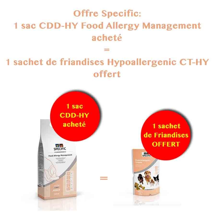 Offre Specific Chien: 1 sac CDD-HY Food Allergy Management 2.5 kg acheté = 1 sachet de Friandises Hypoallergenic CT-HY OFFERT
