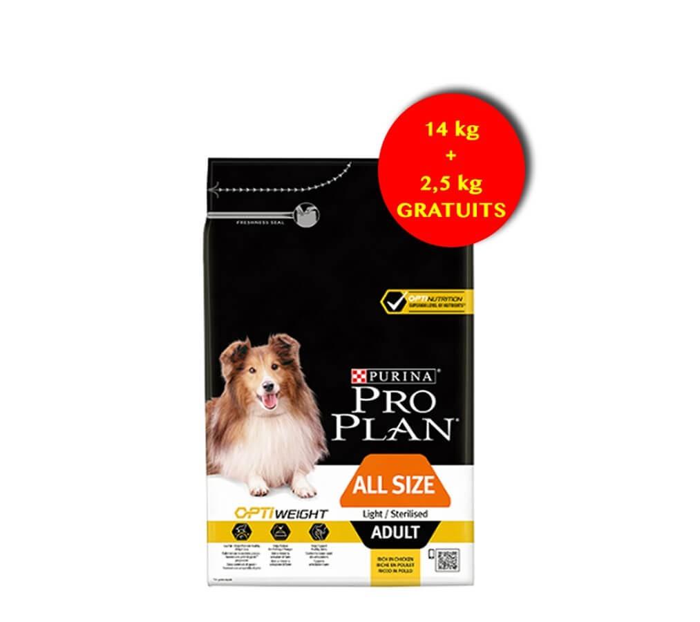 Purina ProPlan Dog All Size Adult Light / Sterilised Poulet OPTIWEIGHT 14 kg + 2.5 kg gratuits