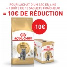 Offre Royal Canin: 1 British Shorthair Adult 4 kg + 1 British Shorthair Adult 12 x 85 g = 10€ de remise immédiate