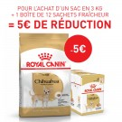 Offre Royal Canin: 1 Chihuahua Adult 3 kg + 1 Chihuahua Adult mousse 12 x 85 g = 5€ de remise immédiate