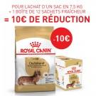 Offre Royal Canin: 1 Teckel Adult 7.5 kg + 1 Teckel Adult mousse 12 x 85 g = 10€ de remise immédiate