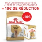 Offre Royal Canin: 1 Yorkshire Terrier Adult 7.5 kg + 1 Yorkshire Adult mousse 12 x 85 g = 10€ de remise immédiate