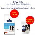 Offre Hill's: 1 sac Hill's Prescription Diet Canine Derm Defense 12 kg acheté = 2 Friandises Hypoallergenic 220 grs Offertes