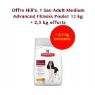 Offre Hill's: Hill's Science Plan Canine Adult Medium Advanced Fitness poulet 12 kg + 2,5 kg offerts
