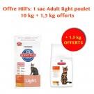 Offre Hill's: Hill's Science Plan Feline Adult Light Poulet 10 kg + 1,5 kg offerts