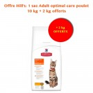 Offre Hill's: Hill's Science Plan Feline Adult Optimal Care Poulet 10 kg + 2 kg offerts