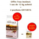 Offre True Instinct: 1 sac Original Medium Maxi Adult Agneau 12 kg acheté = 2 pochons No Grain Medium/Maxi Adult Poulet 300 g offerts