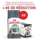 Offre Royal Canin: 1 sac Féline Care Nutrition Digestive Care 4 kg + 12 sachets Digest Sensitive sauce achetés = 8€ de remise immédiate