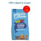 Offre Edgard & Cooper: 1 sac Croquettes Saumon Norvégien Frais Chien Adulte 12 kg acheté = 1 sac de 2,5 kg offert - La Compagnie des Animaux