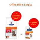Offre Hill's Stress: 1 sac Hill's Prescription Diet Feline C/D Urinary Stress light au poulet 4 kg acheté = 12 sachets offerts