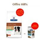 Offre Hill's: 1 sac Prescription Diet Canine J/D Reduced Calorie 12 kg acheté = 2 boites Metabolic + Mobility mijotés thon et légumes offertes