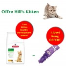 Offre Hill's Kitten: 1 sac Science Plan Kitten Healthy Development Poulet 2 kg acheté = 1 jouet Kong Kitten Kickeroo offert