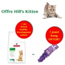 Offre Hill's Kitten: 1 sac Science Plan Kitten Healthy Development Thon 2 kg acheté = 1 jouet Kong Kitten Kickeroo offert