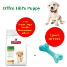 Offre Hill's Puppy: 1 sac Science Plan Puppy Large Healthy Development Poulet 11 kg acheté = 1 jouet Orbee-Tuff Bone L offert
