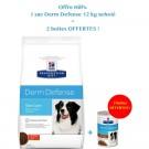Offre Hill's: 1 sac Prescription Diet Canine Derm Defense 12 kg acheté = 2 boites Derm Defense mijotés au poulet offertes- La Compagnie des Animaux