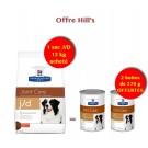 Offre Hill's: 1 sac Prescription Diet Canine J/D 12 kg acheté = 2 boites J/D offertes
