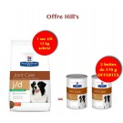 Offre Hill's: 1 sac Prescription Diet Canine J/D Reduced Calorie 12 kg acheté = 2 boites J/D offertes