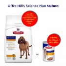 Offre Hill's: 1 sac Science Plan Canine Mature adult 7+ Light Active Longevity au poulet 12 kg acheté = 4 boites canine mature 370 g offertes