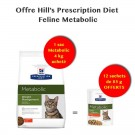 Offre Hill's: 1 Sac Hill's Prescription Diet Feline Metabolic 4 kg acheté = 12 sachets de Metabolic 85 grs Offerts