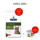 Offre Hill's: 1 sac Prescription Diet Feline Metabolic 4 kg acheté = 2 boites Feline Metabolic mijotés poulet et légumes offertes