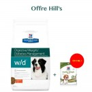 Offre: Hill's Prescription Diet Canine W/D au poulet 12 kg = Hill's Treats Healthy Weight 220 g OFFERT