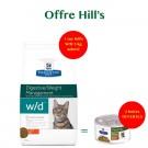 Offre Hill's: 1 sac Prescription Diet Feline W/D 5 kg acheté = 2 boites Feline Metabolic mijotés poulet et légumes offertes