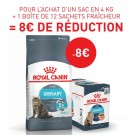 Offre Royal Canin: 1 sac Féline Care Nutrition Urinary Care 4 kg + 12 sachets Urinary Care sauce acheté = 8€ de remise immédiate