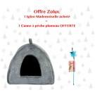 Offre Zolux: 1 Igloo Mademoiselle pour chat acheté = 1 Canne à pêche plumeau pour chat offerte