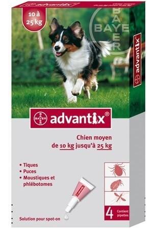 Advantix chien moyen 10 25 kg 4 pipettes - Produit pour empecher les chiens d uriner ...