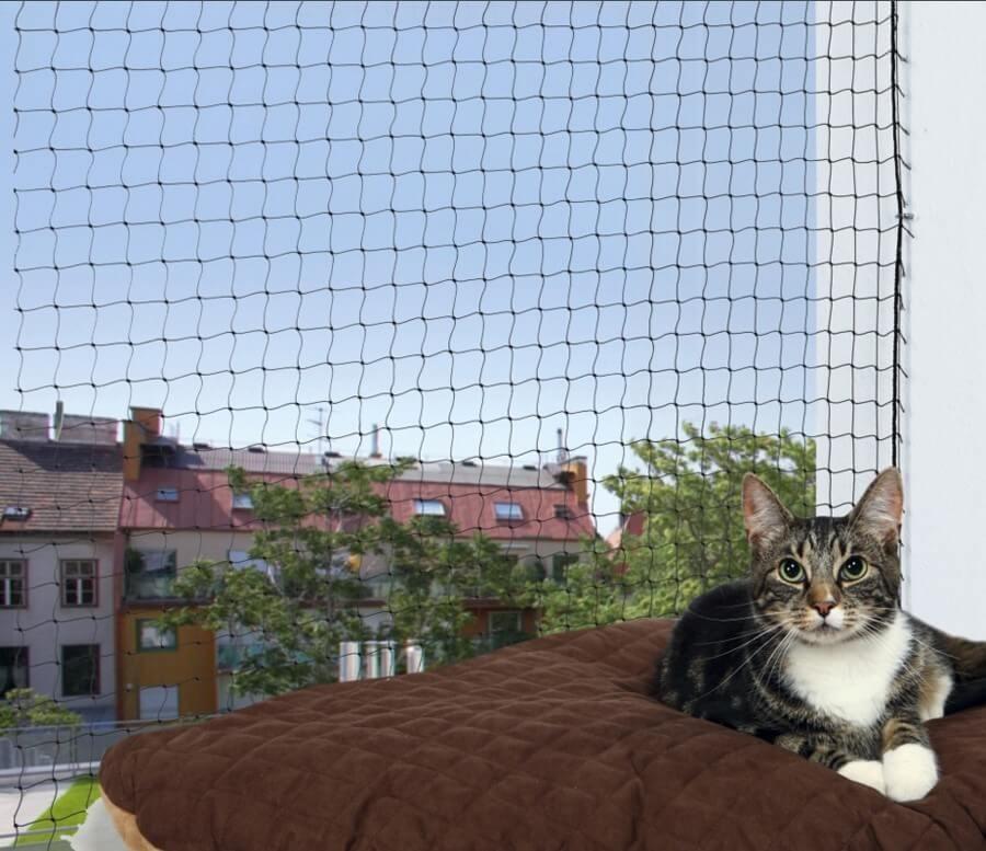 Filet de protection noir trixie filet de fen tre pour chat for Protection fenetre chat
