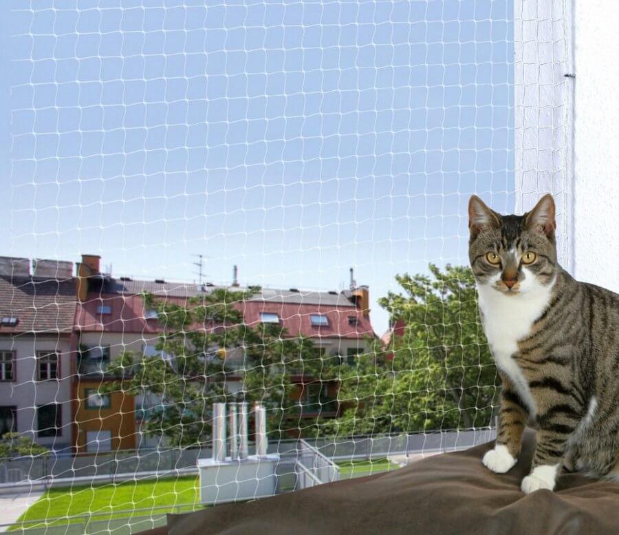 Filet de protection transparent trixie filet de fen tre pour chat - Filet fenetre chat ...