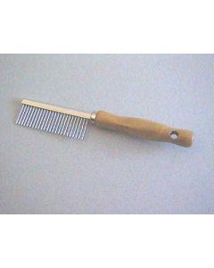 Peigne manche en bois Denture métal espacée 17.5 cm