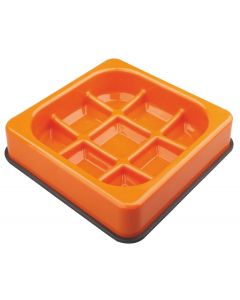M-pets Waffle gamelle anti-glouton à carreaux orange