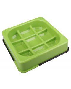 M-pets Waffle gamelle anti-glouton à carreaux verte