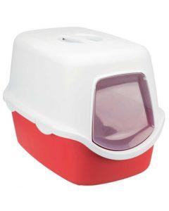 Bac à litière Vico 40 x 40 x 56 cm blanc / rouge- La Compagnie des Animaux