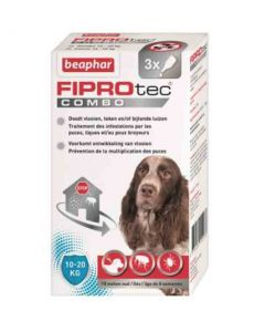 Beaphar Fiprotec Combo chiens moyens 10-20 kg 3 pipettes- La Compagnie des Animaux