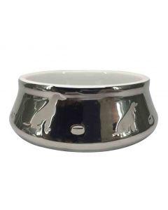 Bubimex Ecuelle céramique argentée motif chien 0,8 L
