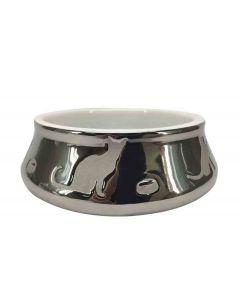 Bubimex Ecuelle céramique argentée motif chat 0,35 L