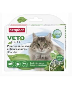Beaphar VETOpure 3 Pipettes répulsives antiparasitaires chat