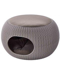 Curver Niche ronde aspect tricot avec coussin chien et chat Sable
