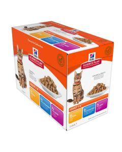 Hill's Science Plan Feline Adult Optimal Care Pack Mixte sachets 12 x 85 grs- La Compagnie des Animaux