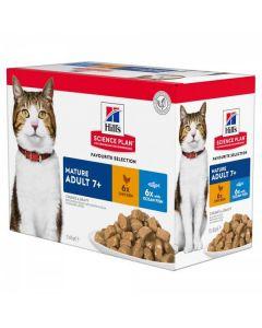 Hill's Science Plan Feline Mature Adult 7+ Pack Mixte sachets 12 x 85 grs
