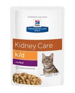 Hill's Prescription Diet Feline K/D Boeuf SACHETS 12 X 85 grs- La Compagnie des Animaux