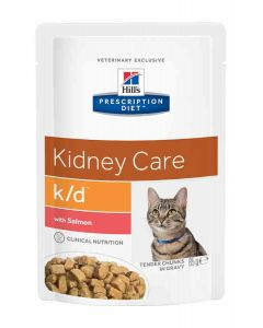 Hill's Prescription Diet Feline K/D Saumon SACHETS 12 X 85 grs- La Compagnie des Animaux