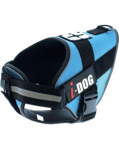 I-DOG Harnais neo-CAM Bleu/Gris L - La Compagnie des Animaux