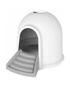 M-pets Igloo Maison de toilette 2en1 blanc & gris chat - La Compagnie des Animaux