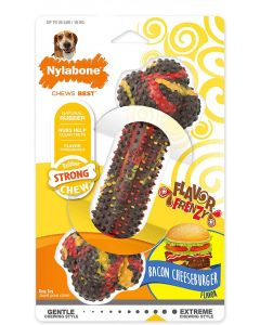 Nylabone Rubber Strong Chew os au cheeseburger au bacon M - La Compagnie des Animaux